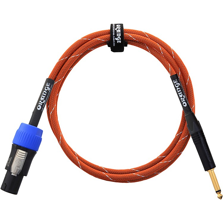 Orange Amplifiers 1/4 Inch to Speakon Speaker Cable Orange with White Stripes 6 ft.