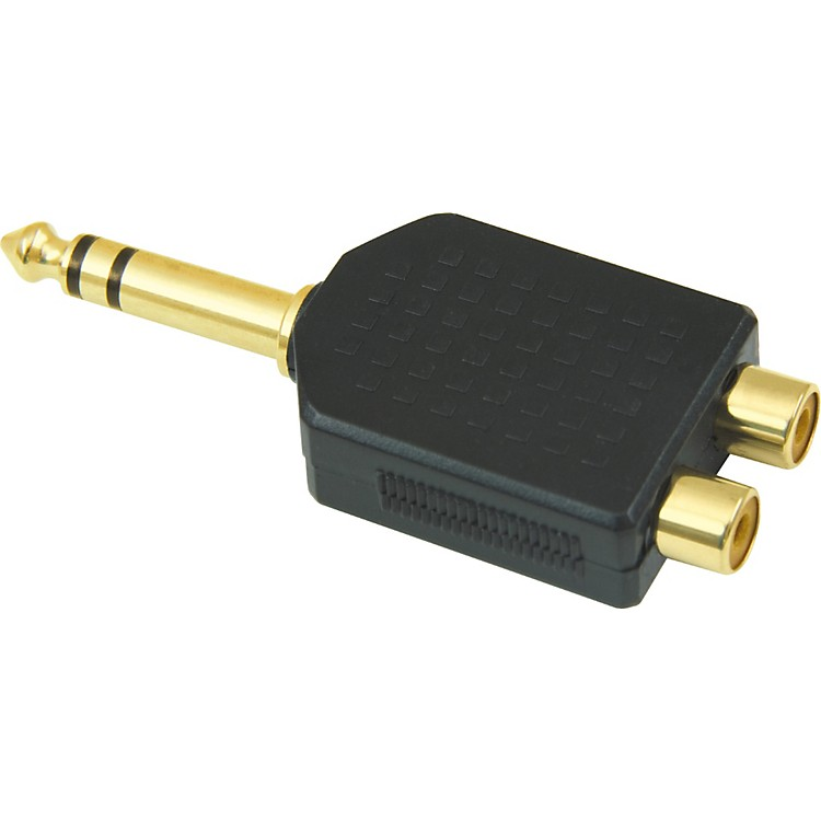 American Recorder Technologies 1/4 inch Male Stereo to 2 RCA Female Adapter Gold