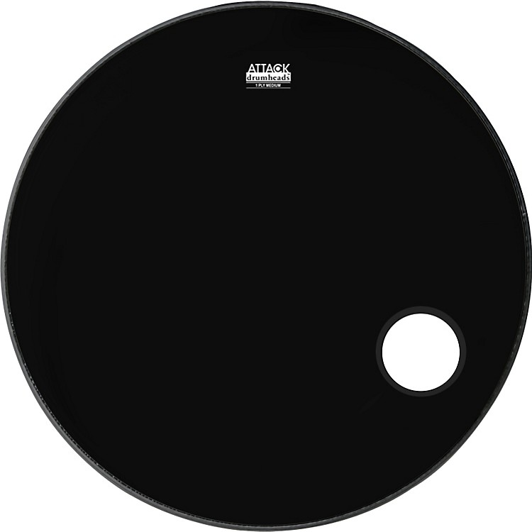 Attack 1-Ply No Overtone Ported Black Drumhead  22