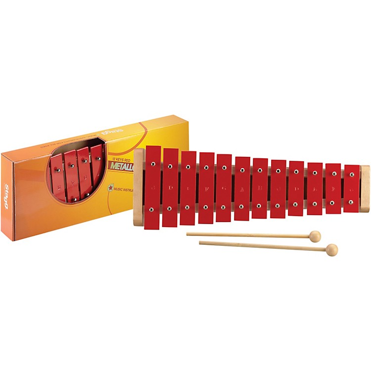 Stagg 1.5 Octave Metallophone, 12 Keys, C-G Red