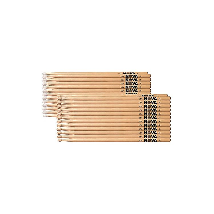 Nova 12-Pair Hickory Drumsticks Nylon 7A