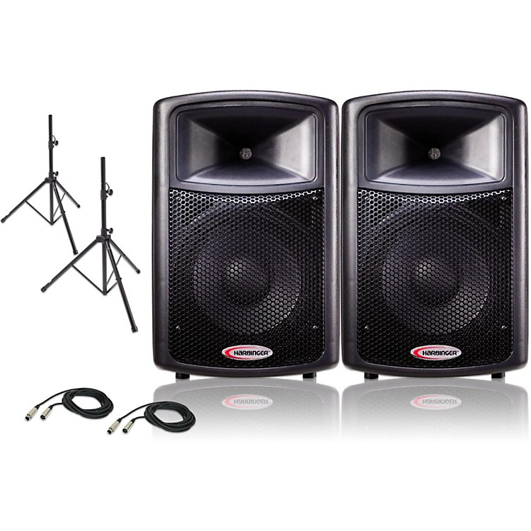 Harbinger12 Powered PA Speaker Pair with Stands and Cables