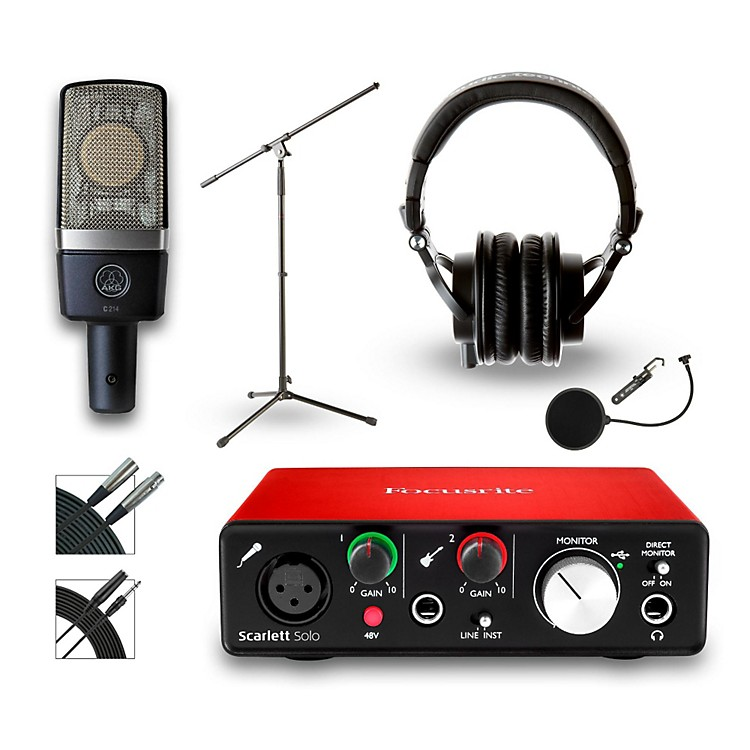 Focusrite18i18 Recording Bundle With AKG C214 Microphone and Audio Technica ATH-M50x