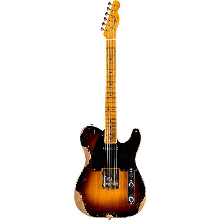 Fender Custom Shop 1951 Heavy Relic Telecaster Maple Fingerboard Electric Guitar Faded 2-Color Sunburst
