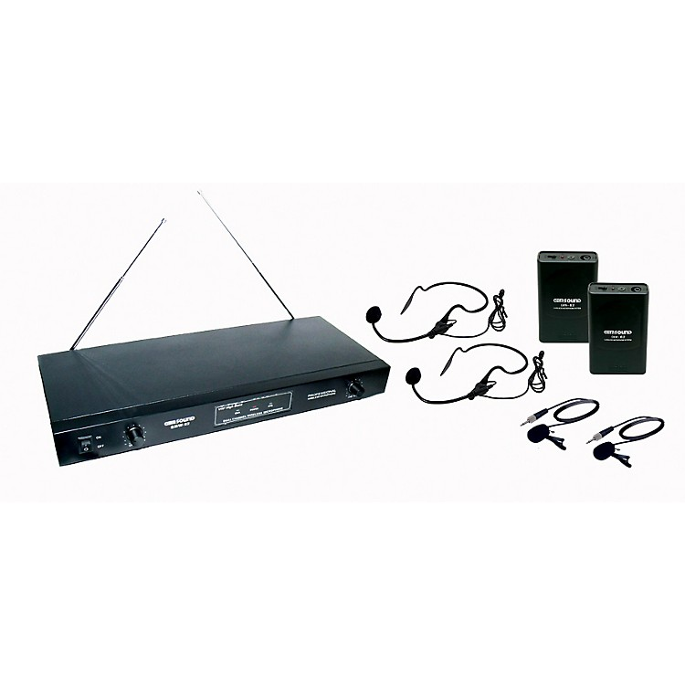 Gem Sound 2 Channel VHF Wireless System w/2 Headset/ 2 Lapel Mics EF