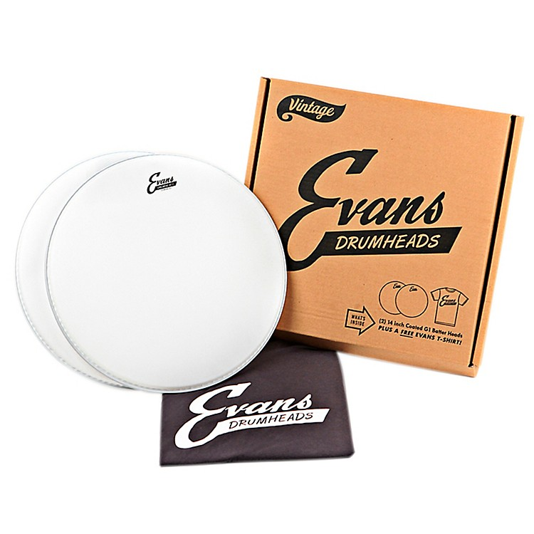 Evans2 Vintage Logo Coated Snare Drumheads with Vintage T-Shirt