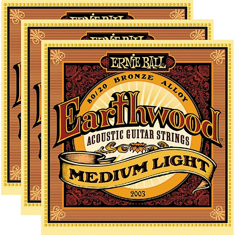 Ernie Ball 2003 Earthwood 80/20 Bronze Medium Light Acoustic Strings (3-Pack)
