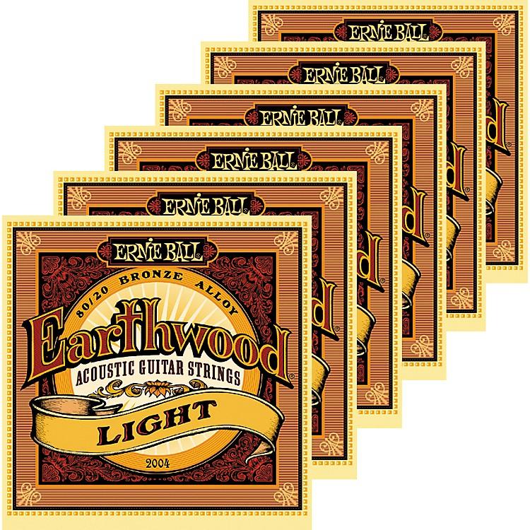 Ernie Ball2004 Earthwood 80/20 Bronze Light Acoustic Guitar Strings 6 Pack
