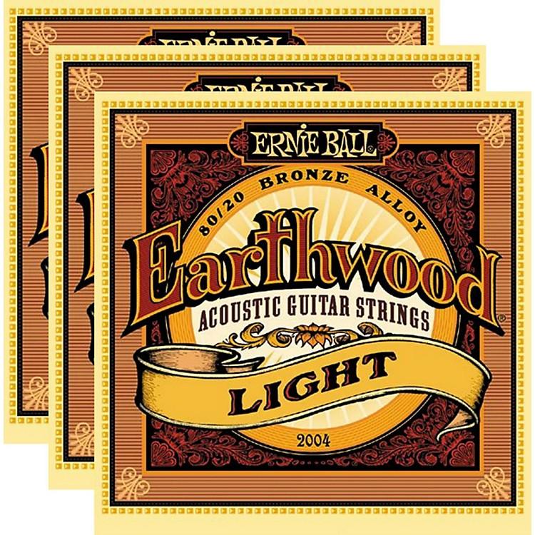 Ernie Ball2004 Earthwood 80/20 Bronze Light Acoustic Strings (3-Pack)