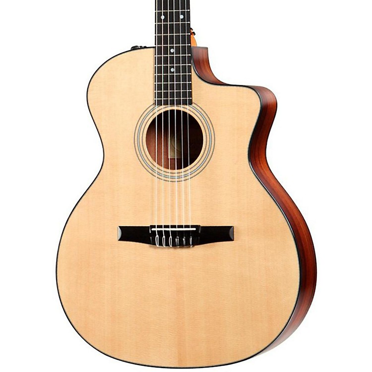Taylor 214ce-N Rosewood/Spruce Nylon String Grand Auditorium Acoustic-Electric Guitar Natural