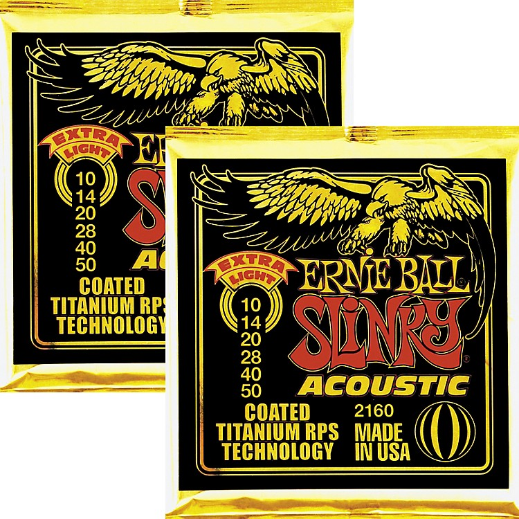 Ernie Ball 2160 Coated Slinky Acoustic Strings Extra Light 2 Pack