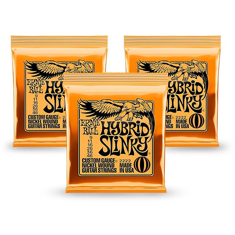 Ernie Ball2222 Nickel Hybrid Slinky Orange Electric Guitar Strings 3 Pack