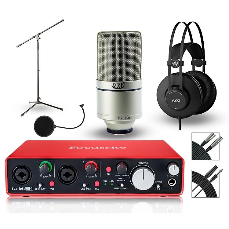 Focusrite2i4 Recording Bundle with MXL Mic and AKG Headphones