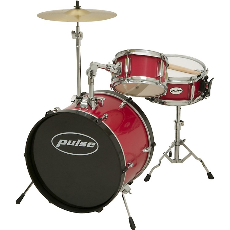 Pulse 3-Piece Kid/Junior Drum Set Bright Red