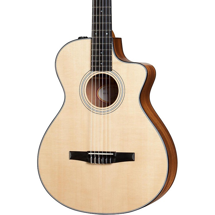 Taylor 300 Series 312ce-N Grand Concert Nylon String Acoustic-Electric Guitar Natural
