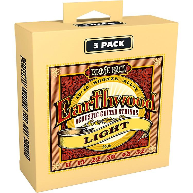 Ernie Ball3004 Earthwood 80/20 Bronze Light Acoustic Guitar Strings 3-Pack