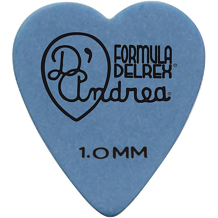 D'Andrea323 Heart Delrex Delrin Picks - One DozenBlue1.0MM