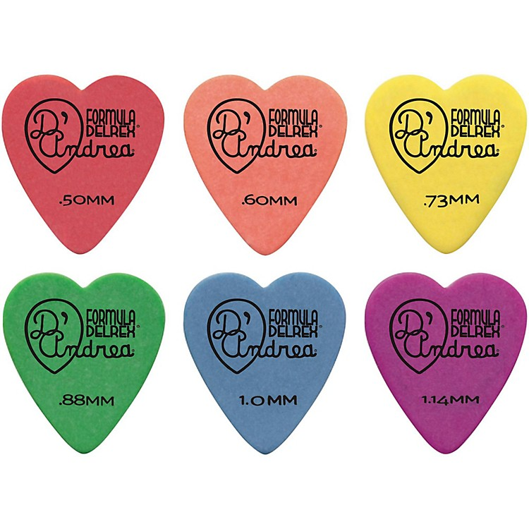 D'Andrea 323 Heart Delrex Delrin Picks - One Dozen Green .88MM