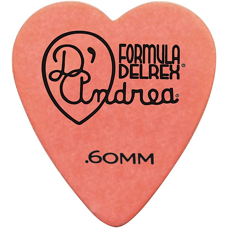 D'Andrea 323 Heart Delrex Delrin Picks - One Dozen Orange .60MM