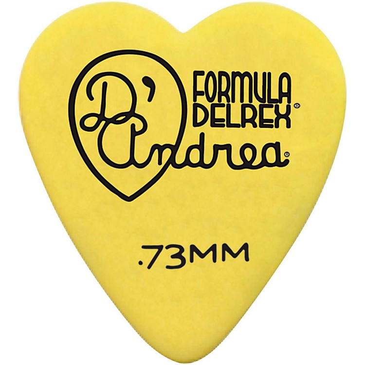 D'Andrea323 Heart Delrex Delrin Picks - One DozenYellow.73 mm