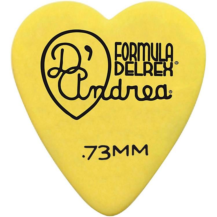 D'Andrea323 Heart Delrex Delrin Picks - One DozenYellow.73MM