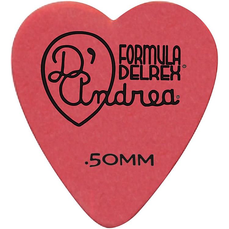 D'Andrea323 Heart Delrex Delrin Picks One DozenRed.50MM