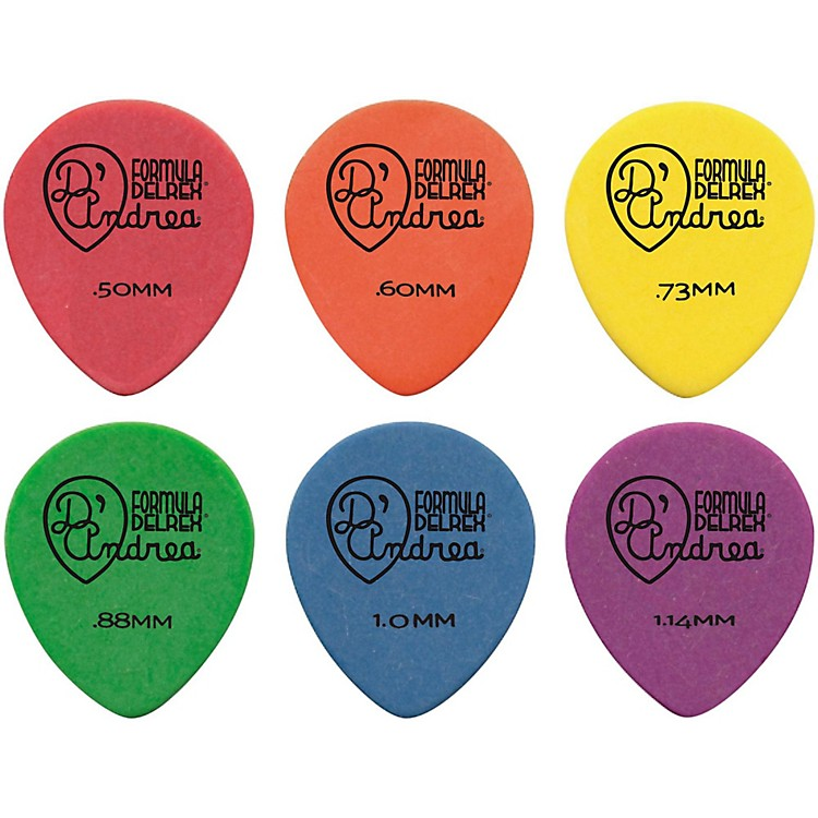 D'Andrea 347 Rounded Teardrop Delrex Delrin Guitar Picks One Dozen
