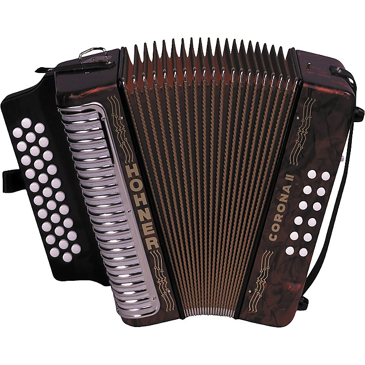 Hohner 3500 Corona II FBbEb Diatonic Accordion Red Pearl