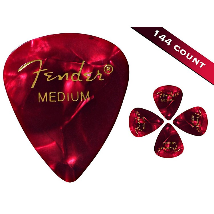 Fender 351 Premium Medium Guitar Picks - 144 Count Red Moto