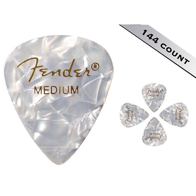 Fender 351 Premium Medium Guitar Picks - 144 Count White Moto