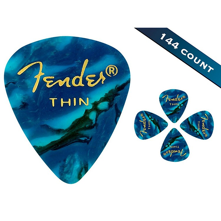 Fender 351 Premium Thin Guitar Picks - 144 Count Ocean Turquoise Moto