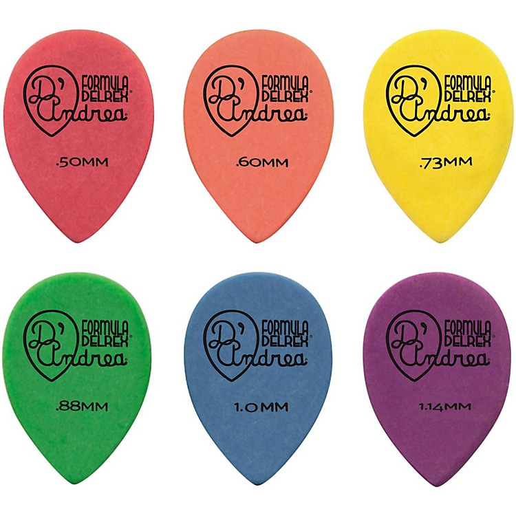 D'Andrea 358 Small Delrex Delrin Guitar Picks Teardrop - One Dozen Green .88MM
