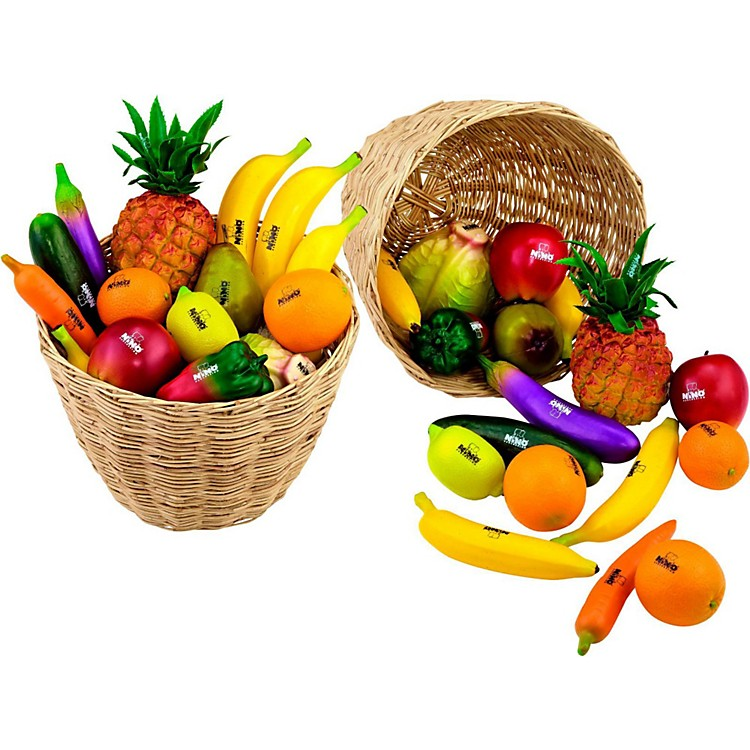 Nino 36-Piece Fruit and Vegetable Shakers in Basket 36 Pieces Various Colors