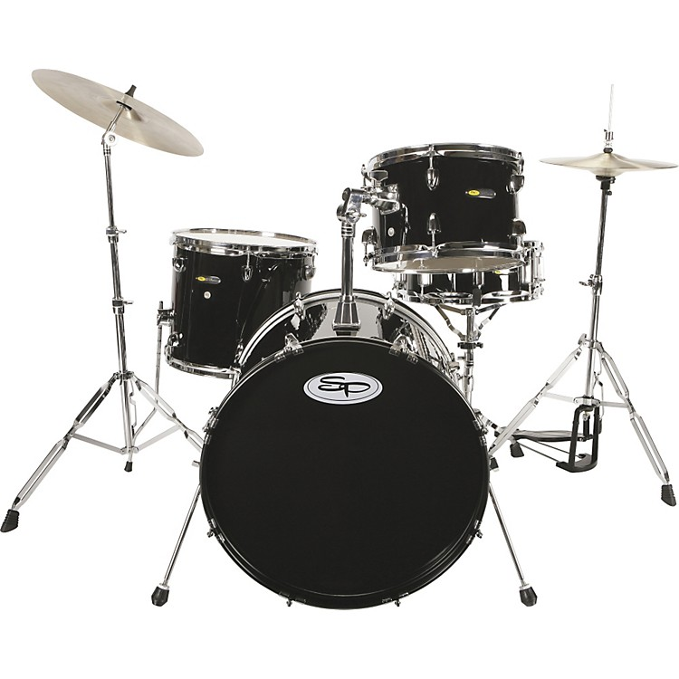 Sound Percussion4-Piece Drum Set with CymbalsBlack