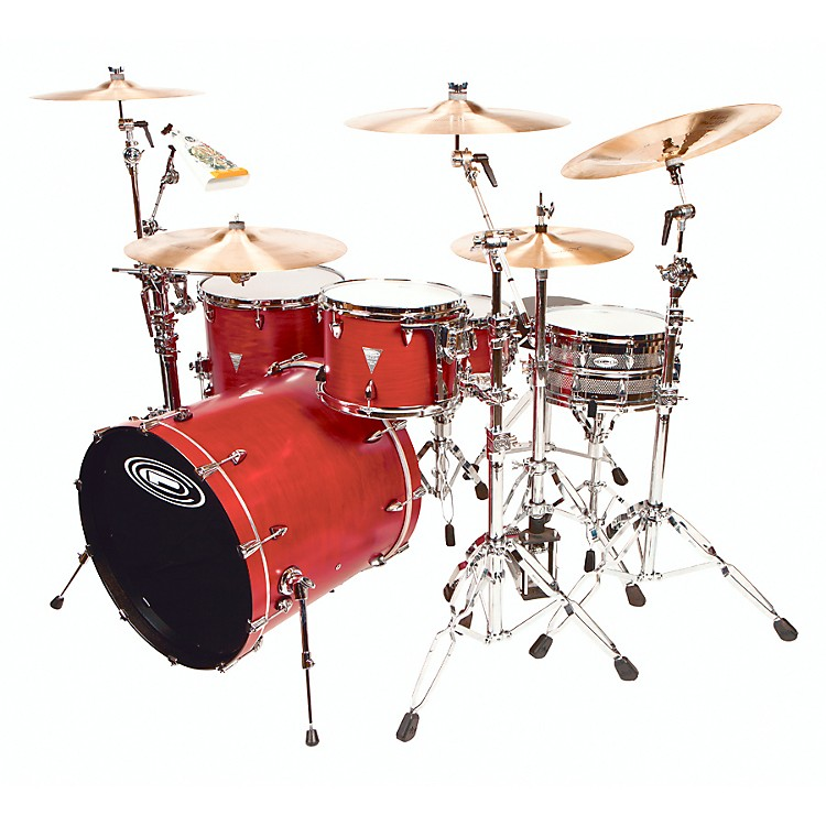 Orange County Drum & Percussion 4-Piece Venice Trans Cherry Wood Shell Pack Transparent Cherry Red