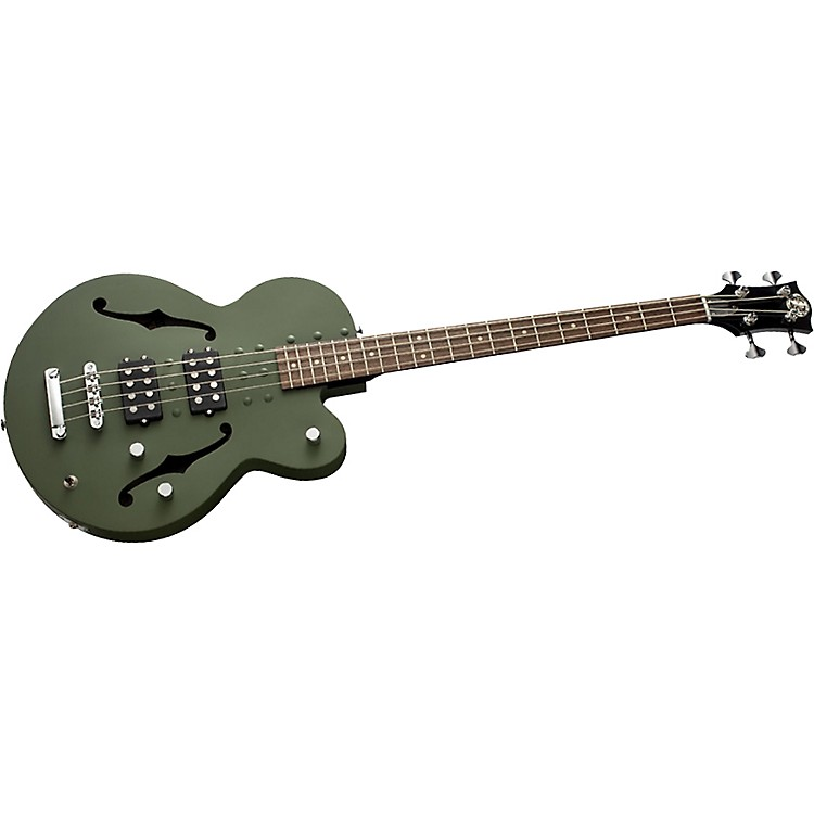 Normandy 4-String Archtop Electric Bass Guitar Powdercoated Army Green