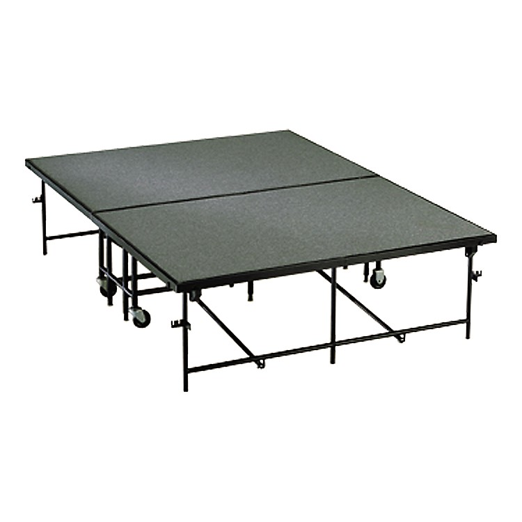 Midwest Folding Products 4' x 8' Mobile Stage 24 in. High, Pewter Gray Carpet