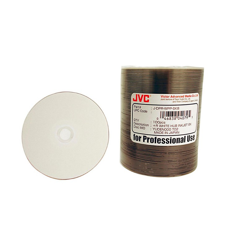 Taiyo Yuden4.7GB DVD+R, 8X, White Inkjet-Printable and Hub Printable, 100 Disc Spindle