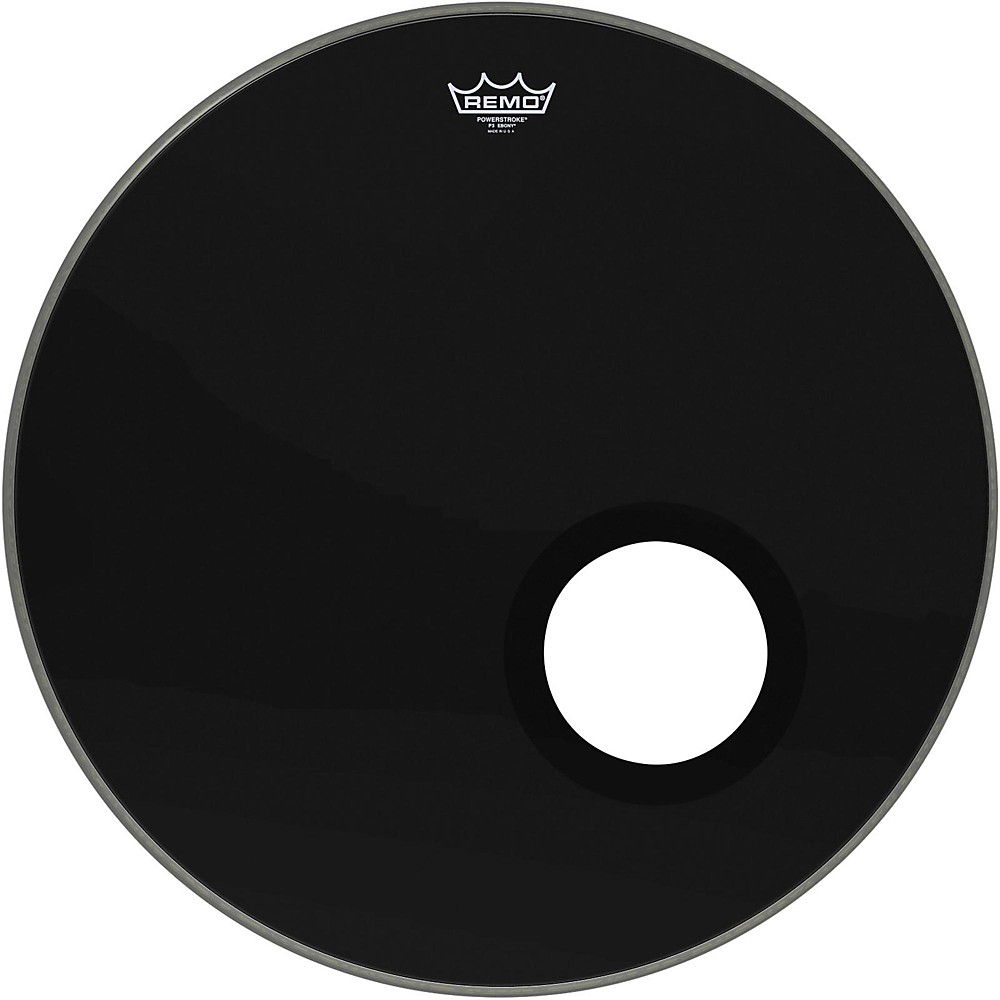 remo powerstroke bass drum head with 5 port hole ebony 24 inch ebay. Black Bedroom Furniture Sets. Home Design Ideas