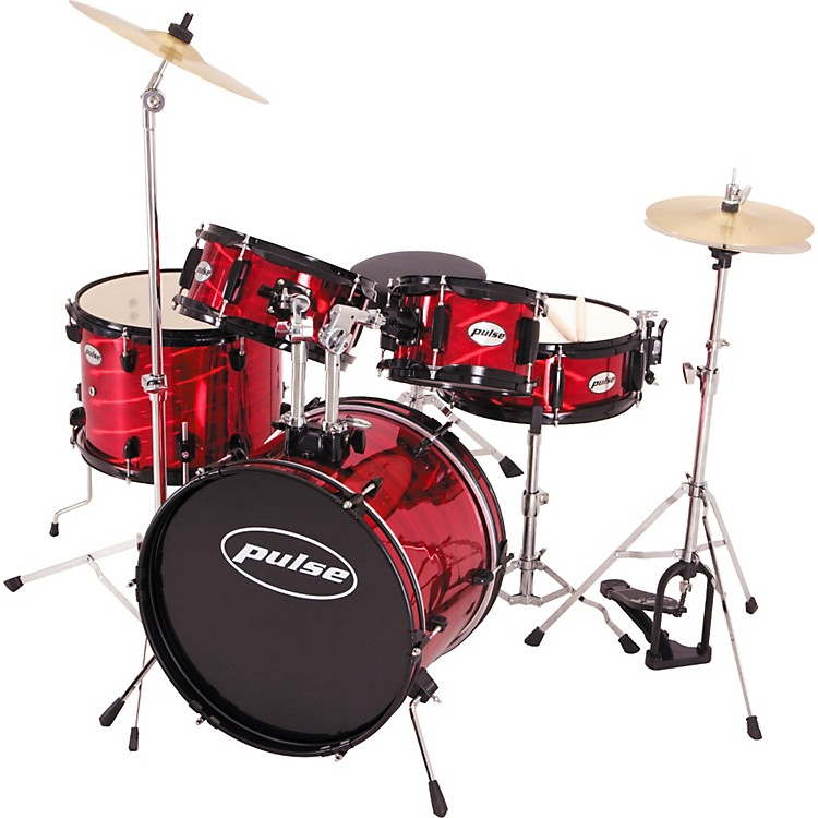 Pulse 5-Piece Junior Drum Set Laser Red