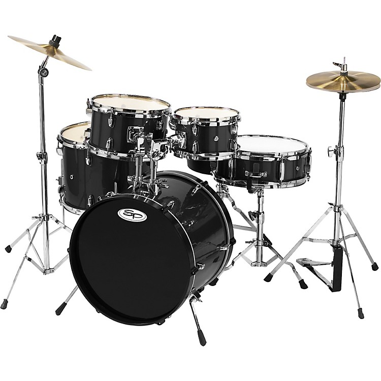 Sound Percussion Labs 5-Piece Junior Drum Set with Cymbals Black