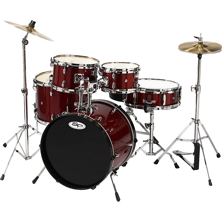 Sound Percussion Labs 5-Piece Junior Drum Set with Cymbals Wine Red