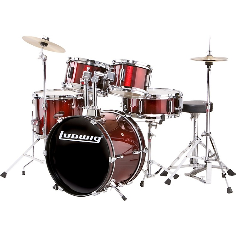 ludwig 5 piece junior drum set with cymbals music123. Black Bedroom Furniture Sets. Home Design Ideas