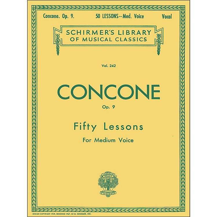 G. Schirmer50 Lessons, Op. 9 by Concone for Medium Voice