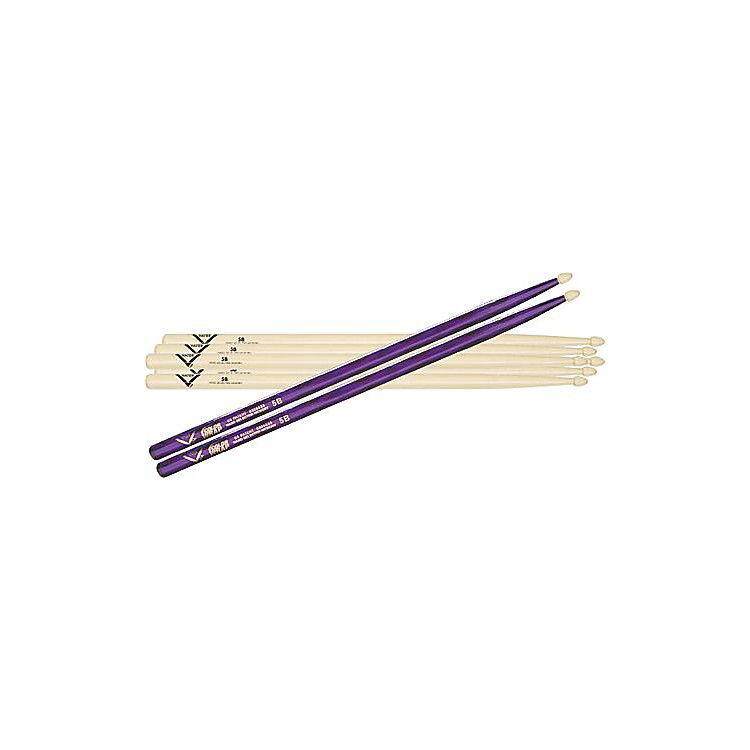 Vater5B Hickory Wood-Tip Drumstick 3-Pack with Free Color Wrap PairSilver Optic5B