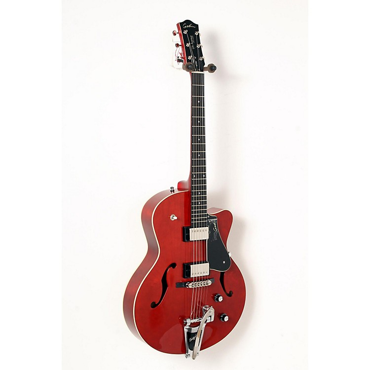 Godin 5th Avenue Uptown GT Guitar with Bigsby Transparent Red Flame 888365835594