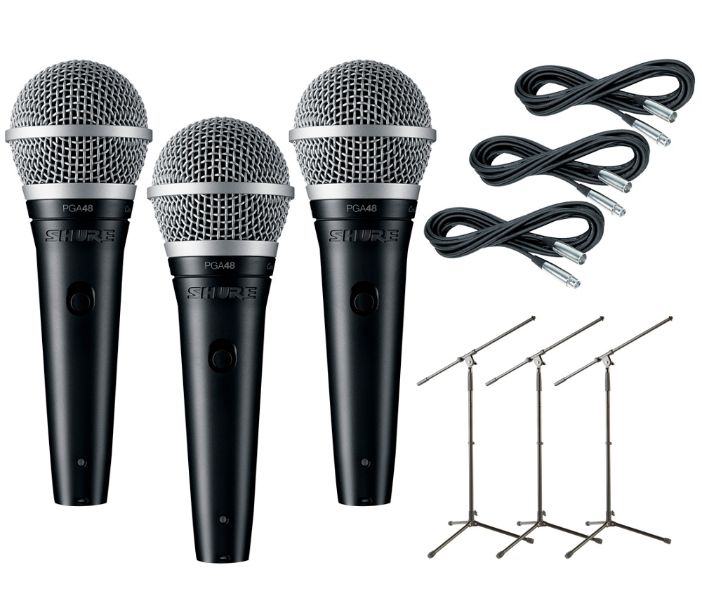 Shure pga48 3 pack mic and stand kit for Stand pack