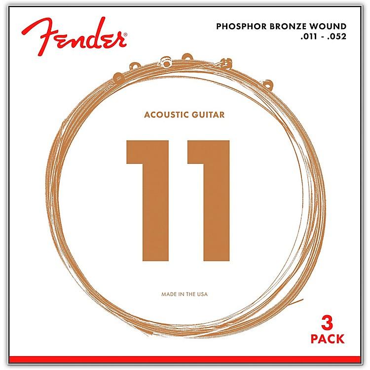 Fender60CL Phosphor Bronze Custom Light Acoustic Guitar Strings 11-52 (3-Pack)
