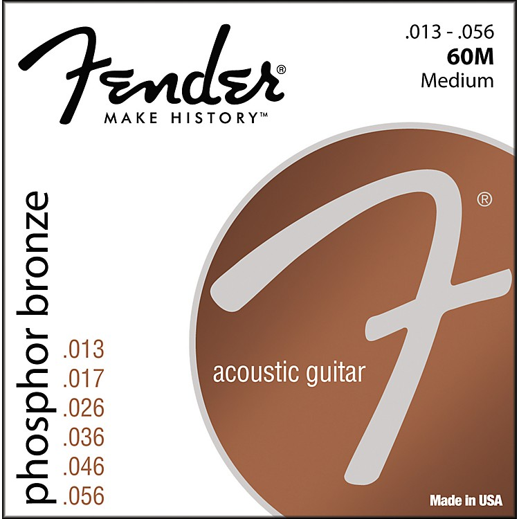 Fender 60M Phosphor Bronze Acoustic Strings - Medium