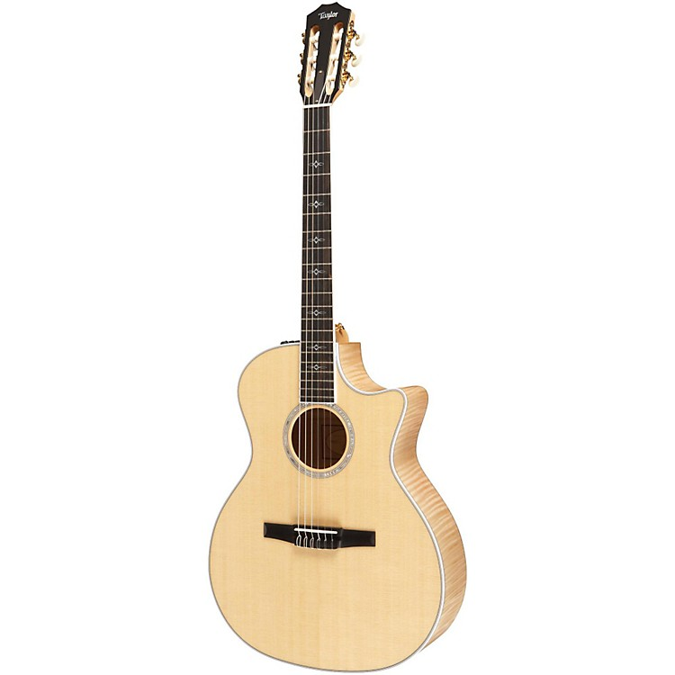 Taylor 614ce-N Maple/Spruce Nylon String Grand Auditorium Acoustic-Electric Guitar Natural